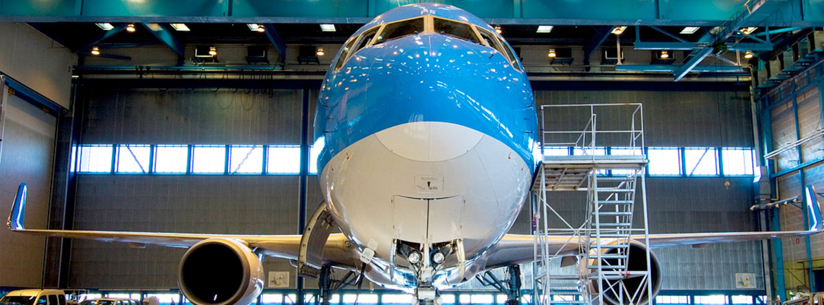 Aeroplane in a hangar