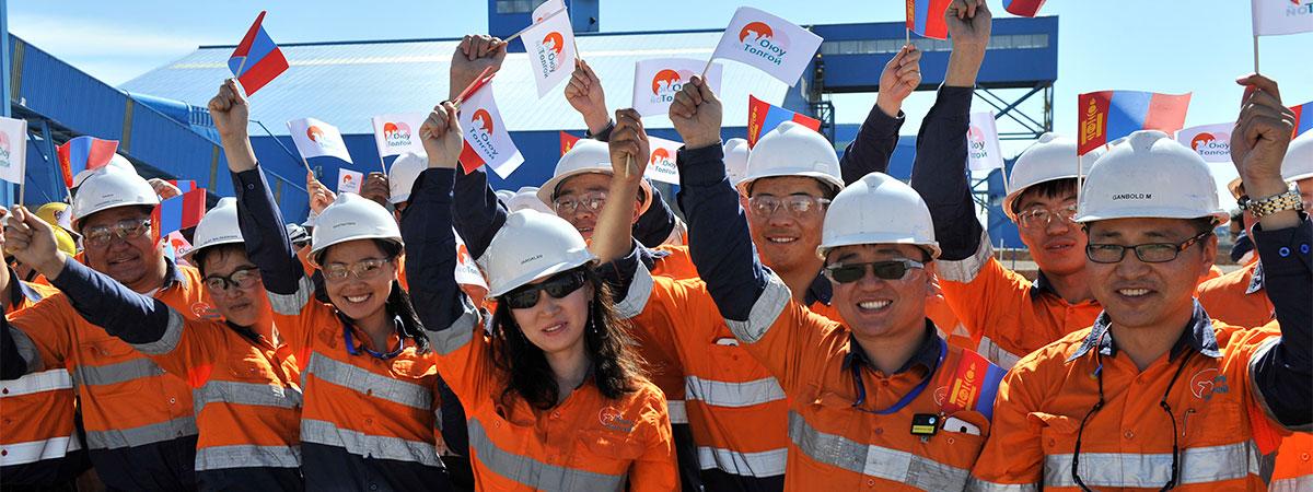Rio Tinto workers at the Oyu Tolgoi mine, Mongolia