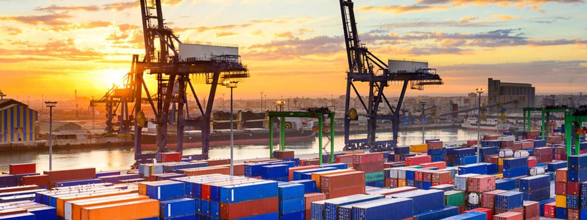Industrial port at dawn